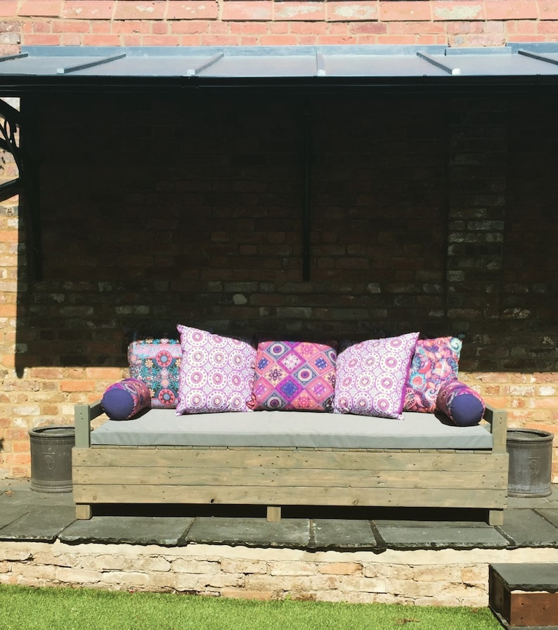Outdoor Waterproof Bench Custom Cushions Zipper On Back Top Quality Made To Order All Colours Available