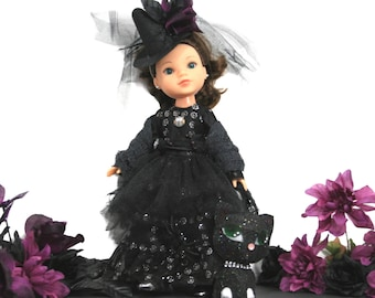 Halloween Glam Witch and Midnight the Cat For 14 Inch Dolls such as Wellie Wishers, Hearts 4 Hearts