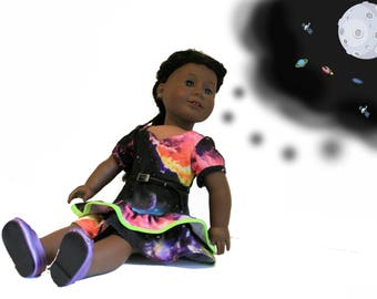 Galaxy Ruffled Dress, Belt and Matching Shoes for 18 Inch Dolls such as American Girl, Our Generation, Madam Alexander