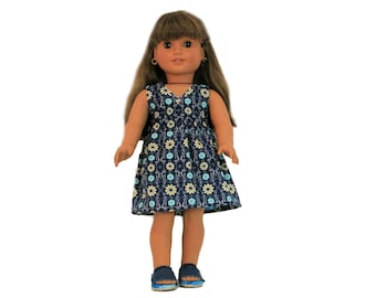 Beautiful Blue Country Floral Dress and Denim Sandals for 18 Inch Dolls such as American Girl, Our Generation, Madam Alexander