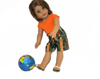 Midriff T Shirt, Hawaiian Surfer Shorts and Sandals  for 18 Inch Dolls such as American Girl, Our Generation, Madam Alexander