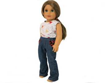 Flying Hearts Tank Top and Red and Pink Lipstick Jeans for 18 Inch Dolls such as American Girl, Our Generation, Madam Alexander