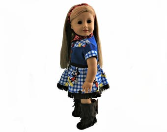 Western Fringed Dress With Coordinated Bandana, Headband, Fringe Boots for 18 Inch Dolls such as American Girl, Our Generation