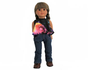 Galaxy Halter Top, Jeans and Leather Combat Boots for 18 Inch Dolls such as American Girl, Our Generation, Madam Alexander