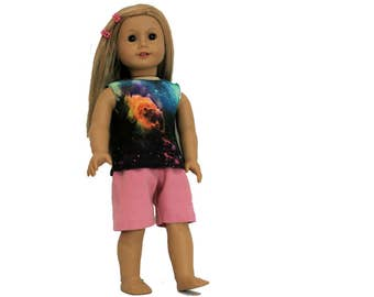 Pink Knee Length Shorts,Floral Burnout Tank, Galaxy Tank Top Three Piece Set for 18 Inch Dolls such as American Girl, Our Generation
