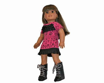 Pink Peace Ruffled Dress and Boots for 18 Inch Dolls such as American Girl, Our Generation, Madam Alexander