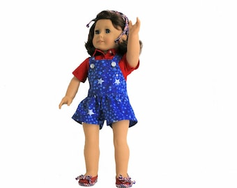 Red, White And Blue Star Spangled Short-alls, Shirt and Shoes for 18 Inch Dolls such as American Girl, Our Generation, Madam Alexander
