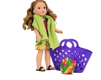 Boy Leg Fuschia Tank Swimsuit, Shorts, Sandals and Beach Accessories  For 13.5 – 14 Inch Dolls such as Hearts 4 Hearts, Corolle Les Cheries