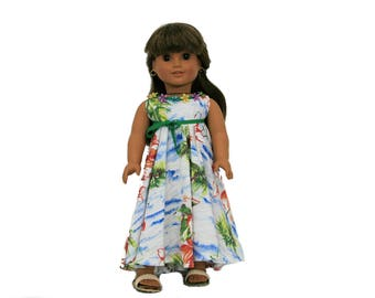 Tropical Breeze Halter Maxi Dress, Sandals Dress for 18 Inch Dolls such as American Girl, Our Generation, Madam Alexander