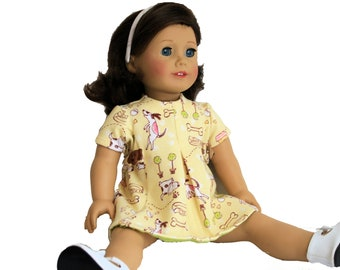 Yellow Puppy Play Dress for 18 Inch Dolls such as American Girl, Our Generation, Madam Alexander
