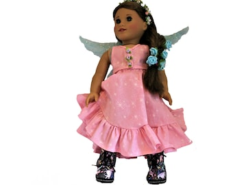 Pretty Pink Fairy Play Dress for 18 Inch Dolls such as American Girl, Our Generation, Madam Alexander