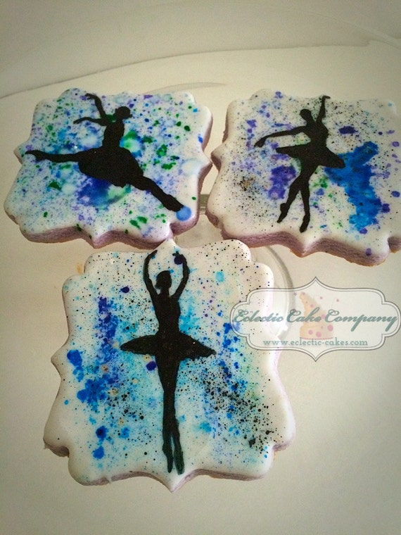 Watercolor Splatter Ballerina Cookies
