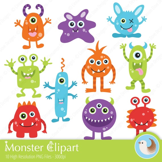 monsters clipart cute monster clipart bright monster etsy rh etsy com cute monster clip art free cute monster clipart images