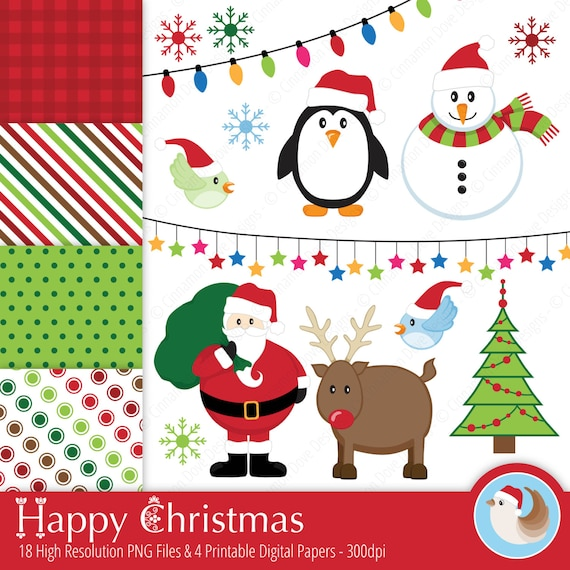 cute christmas clipart happy christmas christmas clipart etsy etsy