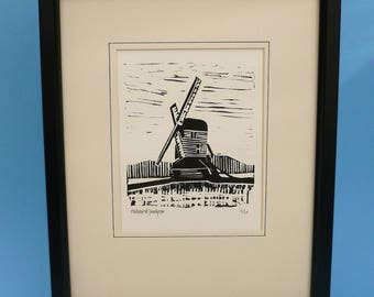 Windmill. Bygones inspired limited edition linocut print