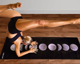 Moon Phases Yoga Mat - Eco-Friendly Printed - Non-Slip, Durable, Grippy - Gift for Her