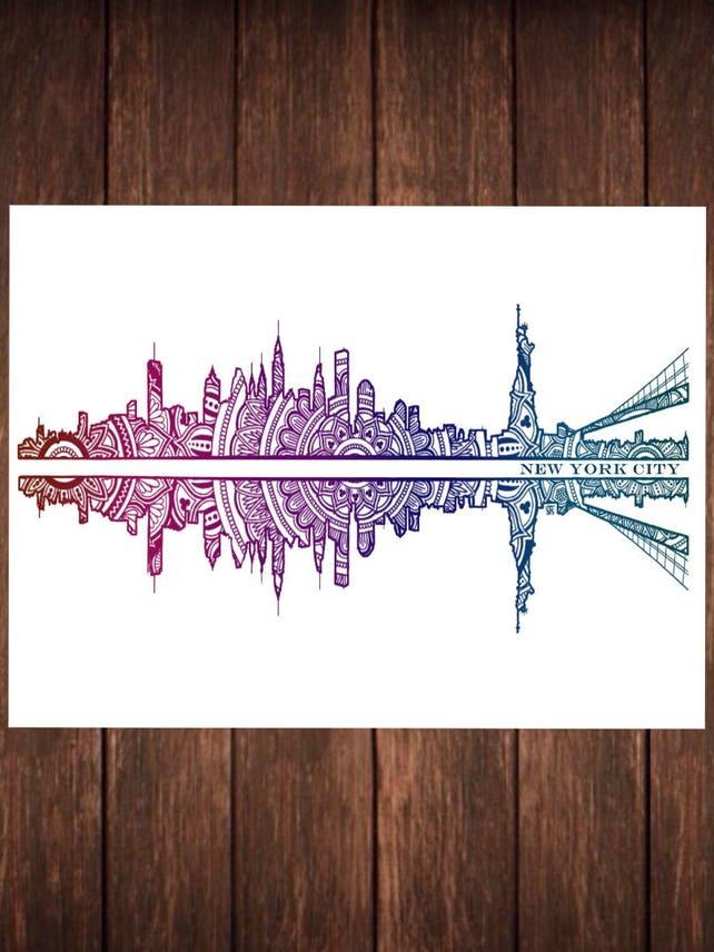 New York City Skyline von Kunstdruck Bunte Mandala | Etsy