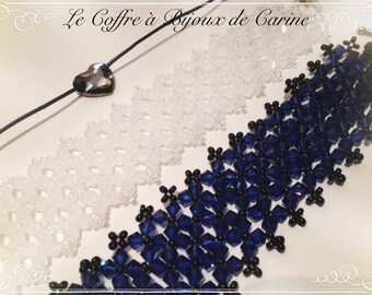 IN STOCK - Night blue Swarovski Crystal cuff bracelet wedding party ceremony Christmas