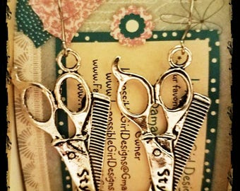 Scissor stylist cosmetology earrings
