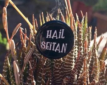 Vegan Pin | Hail Seitan 1 inch Pin | Hail Seitan Button | Vegan Badge | Vegan Button | Black and White Hail Seitan Pin | Vegan Humour