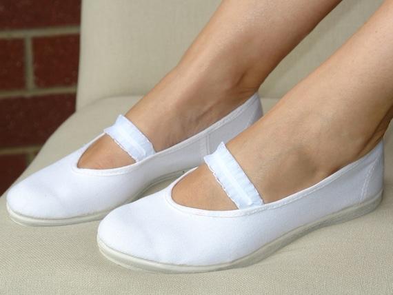 Hochzeitsschuhe, Frau Schuhe, Mädchen Mary Jane Schuhe, weiße Baumwolle, Hochzeit Wohnungen, Brautschuhe, Sommer Kleid Schuhe, rustikale Hochzeit,