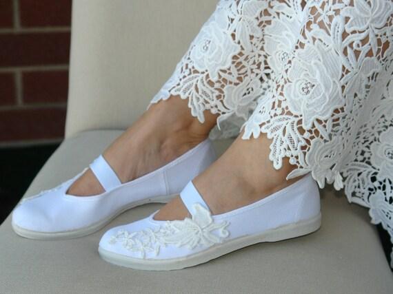 Frauen Hochzeit Schuhe Mädchen Mary Jane Schuhe weiß Baumwolle Hochzeit Wohnungen Brautschuhe Sommer Kleid Schuhe rustikale Hochzeit