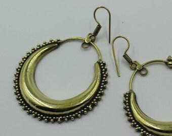 Brass gypsy earrings, boho earrings, hoop earrings, ethnic earrings, tribal earrings womens, brass earrings for her, gypsy earrings women