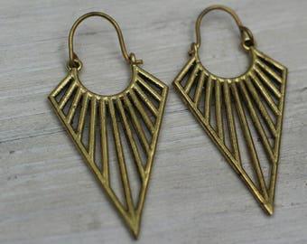 Brass gypsy earrings, boho earrings, aztec earrings, ethnic earrings, tribal earrings womens, brass earrings for her, gypsy earrings womens