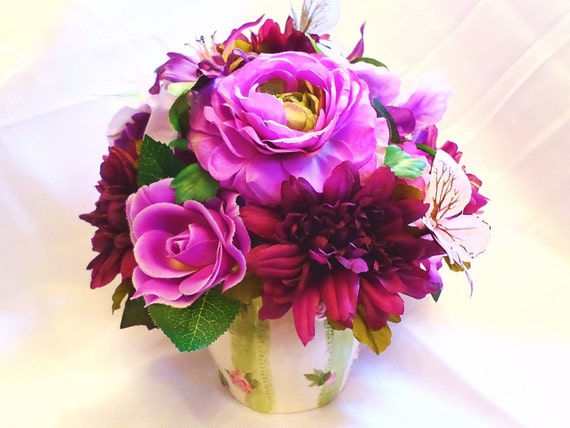 Lovely Day Silk Floral Arrangement Of Purple Flowers Etsy