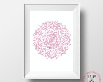 Printable, mandala, mandala wall print, wall print, wall art, zen print, zen home, girls room, girls print, office art, digital download