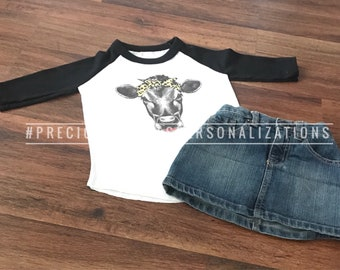Baby Girls - Toddler Raglan | leopard cow head | heifer with bow | gift