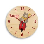 Personalized wall clock for boys. Boy's clock. Bear clock. Cartoon bear clock. Custom clock. Personalized wall art. CL6021