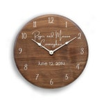 Personalized walnut clock. Wedding clock, gift for couples, family name clock, wedding gift, anniversary clock, personalized clock.