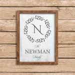 Framed Family Name Monogram and Wreath farmhouse wood Sign. fixer upper personalized rustic sign. 9 x 12 or 12 x 16