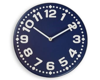 Wood wall clock. Colorful wall clock. Modern wall clock. Navy blue wall clock. 11 inch diameter wall clock. CL4014