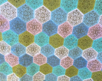 Hexagonal fabric blue pink geometric pattern