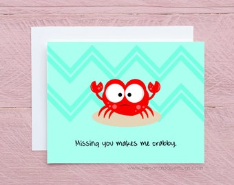 Missing you makes me crabby - I miss you card - Card for long distance relationship