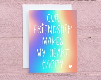 Cute Friendship Makes My Heart Happy Thank You Card for Friend