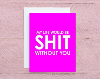 Pink Funny Sarcastic Friendship Valentine's Day Greeting Card for Best Friend