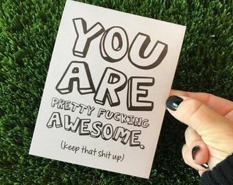 Funny Friendship Card / Funny Congratulations Card / You are awesome card / Funny Thank You Card / Funny Grad Card / You Rock Card / Mature