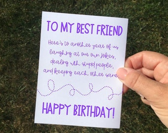 Funny Sarcastic Purple Birthday Card Friend For Best Woman Her