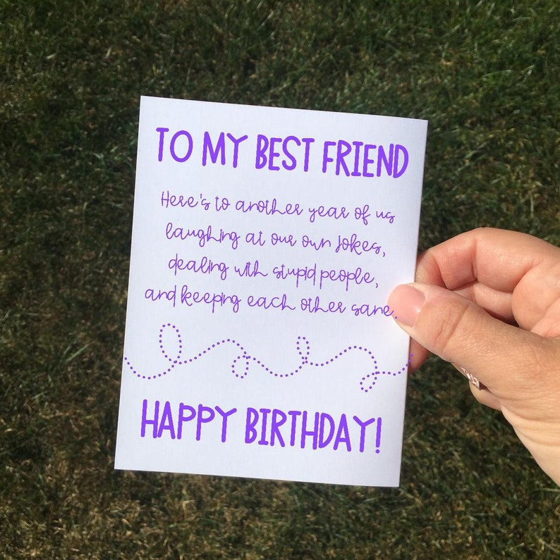 Funny Sarcastic Purple Birthday Card Friend For Best