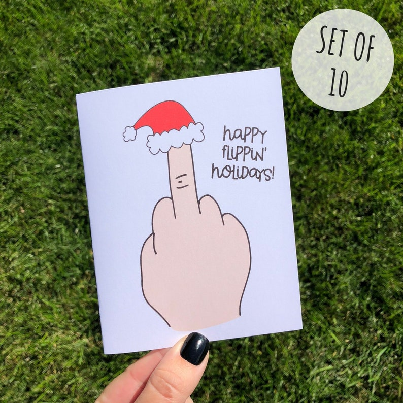 Funny Holiday Card Pack Rude Sarcastic Funny Christmas Card image 0