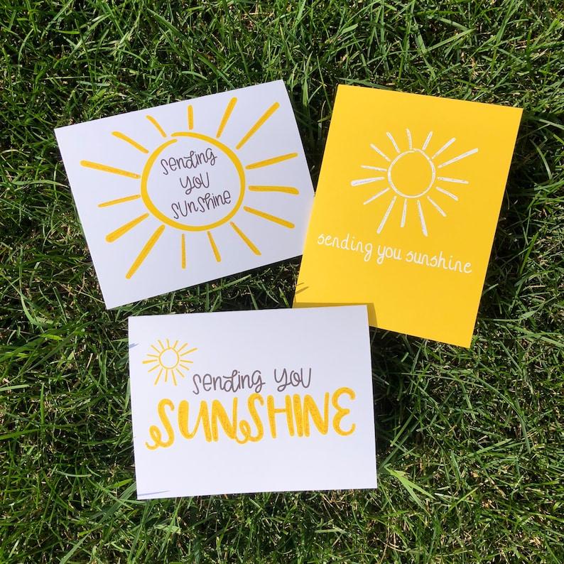 Yellow Sending You Sunshine Blank Greeting Card Set Sunshine image 0