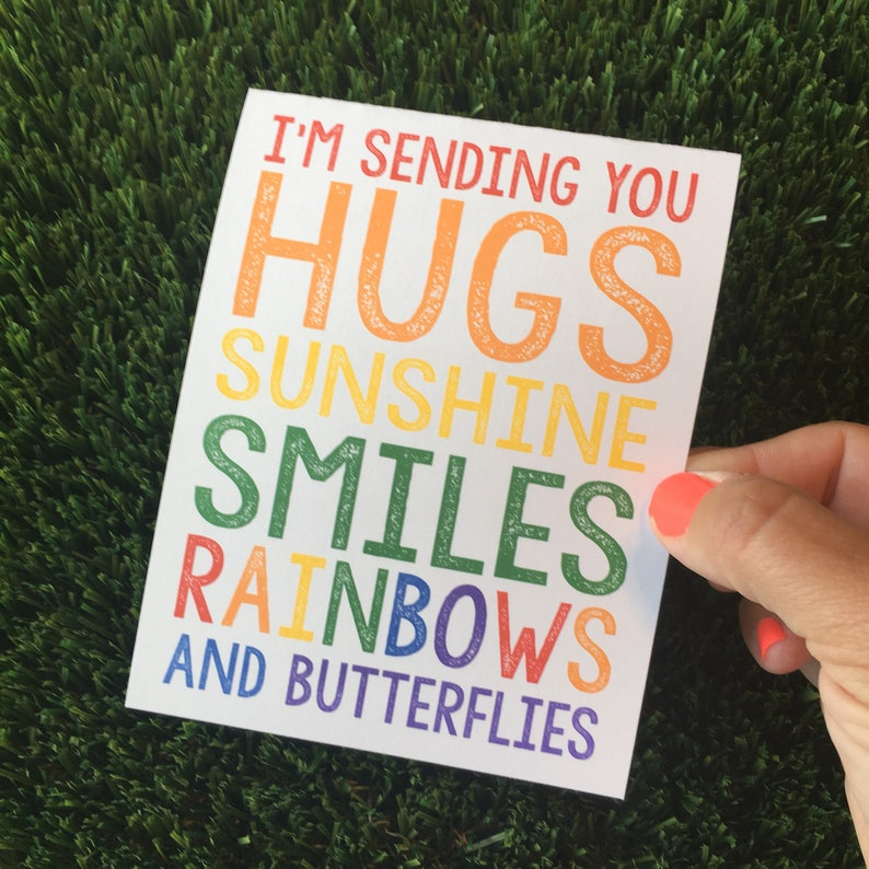 PRINTABLE Card  Thinking of You  Sending you Hugs  Rainbow image 0