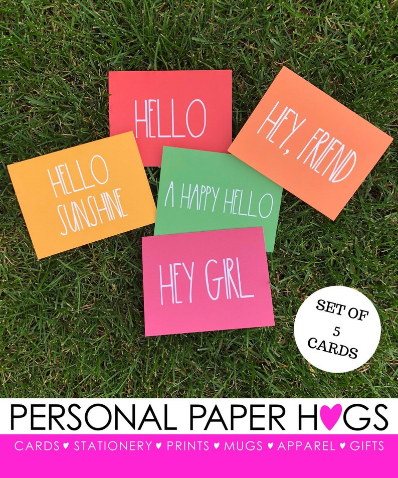 Set of 5 Colorful Just Because Friendship Greeting Cards image 0