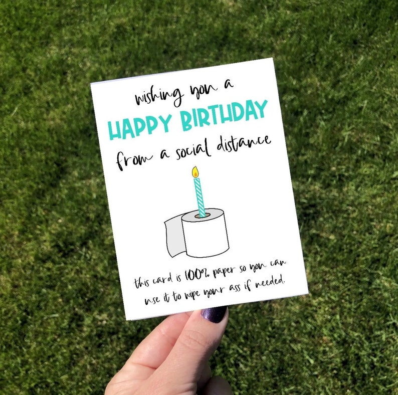 Funny Social Distance Birthday Greeting Card image 0