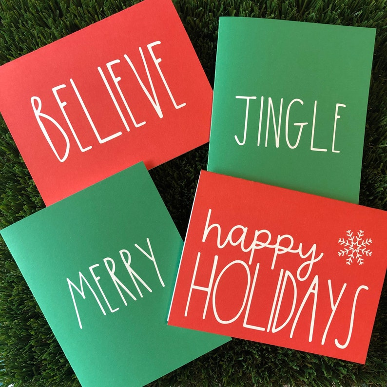 Set of 4 Clean & Simple Holiday Cards Red and Green Christmas image 0