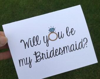Will you be my Bridesmaid? - Bridesmaid card - Maid of Honor Card - Bridal party proposal card - wedding party card - card for bridesmaid