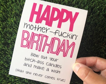 Rude Sarcastic Pink Birthday Card, Snarky Birthday Card, Inappropriate Birthday Card, Funny Birthday Card, Over the Hill Card